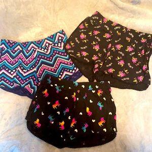3 Pairs Justice Girls Size 8 shorts Bundle